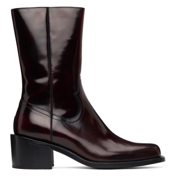 Photo: Dries Van Noten Burgundy Leather Zip-Up Boots
