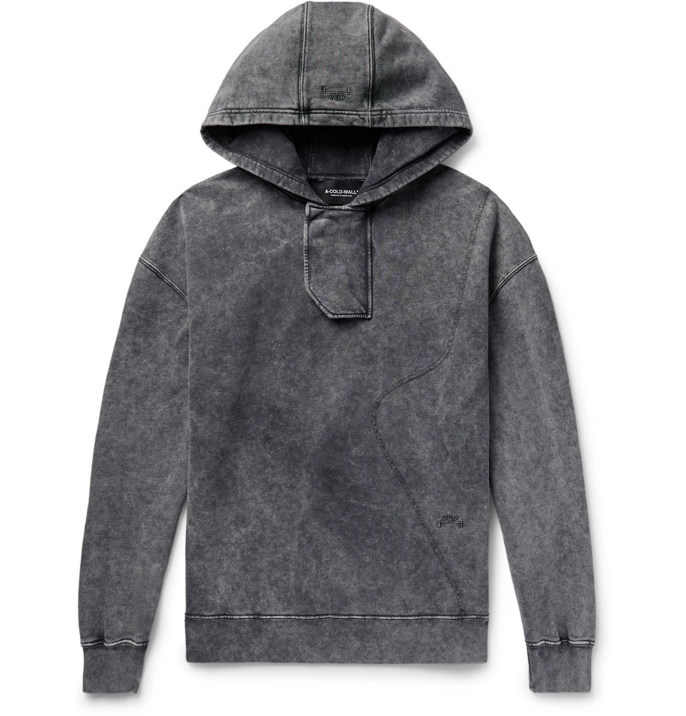 Photo: A-COLD-WALL* - Fade Out Acid-Washed Loopback Cotton-Jersey Hoodie - Black