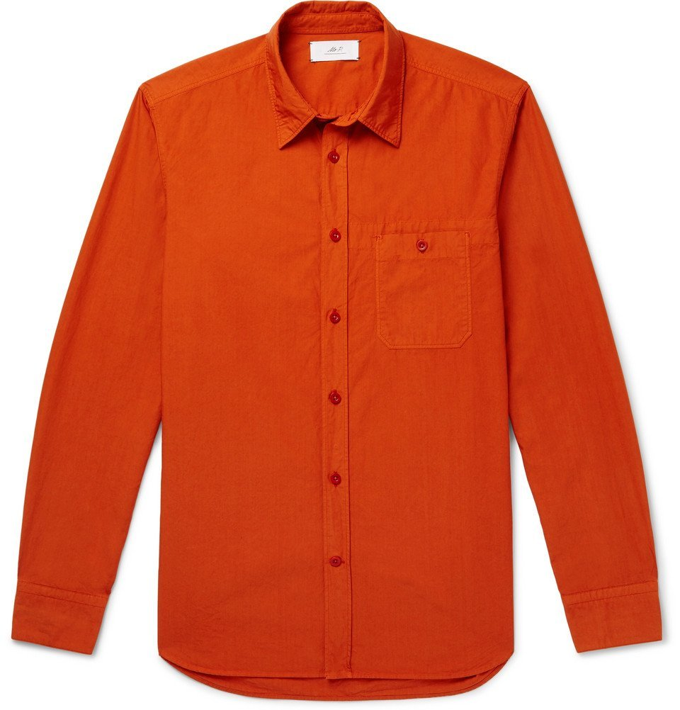 Photo: Mr P. - Garment-Dyed Cotton-Poplin Shirt - Men - Orange
