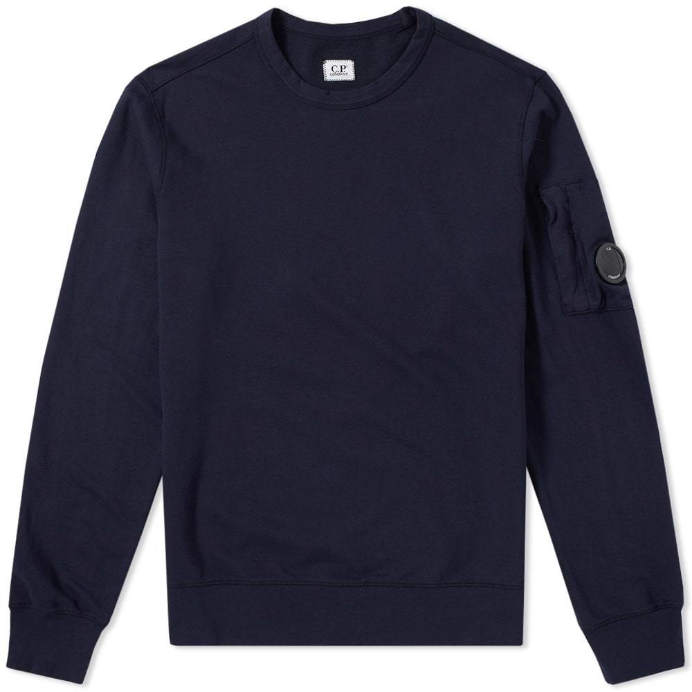 C.P. Company Garment Dyed Light Fleece Arm Lens Sweat Blue