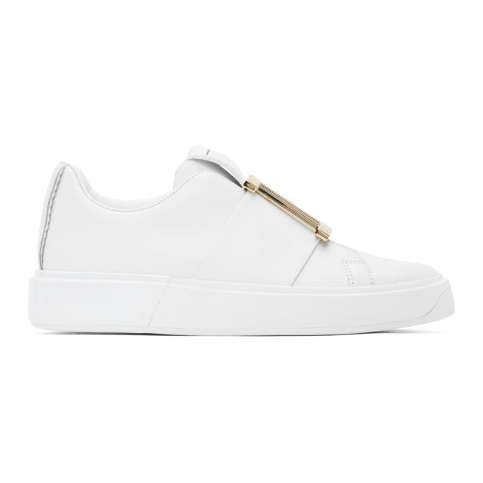 Photo: Balmain White Buckle B-Court Sneakers