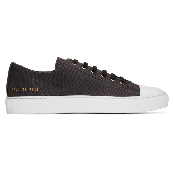 Common Projects Black Canvas Tournament Low Cap Toe Sneakers