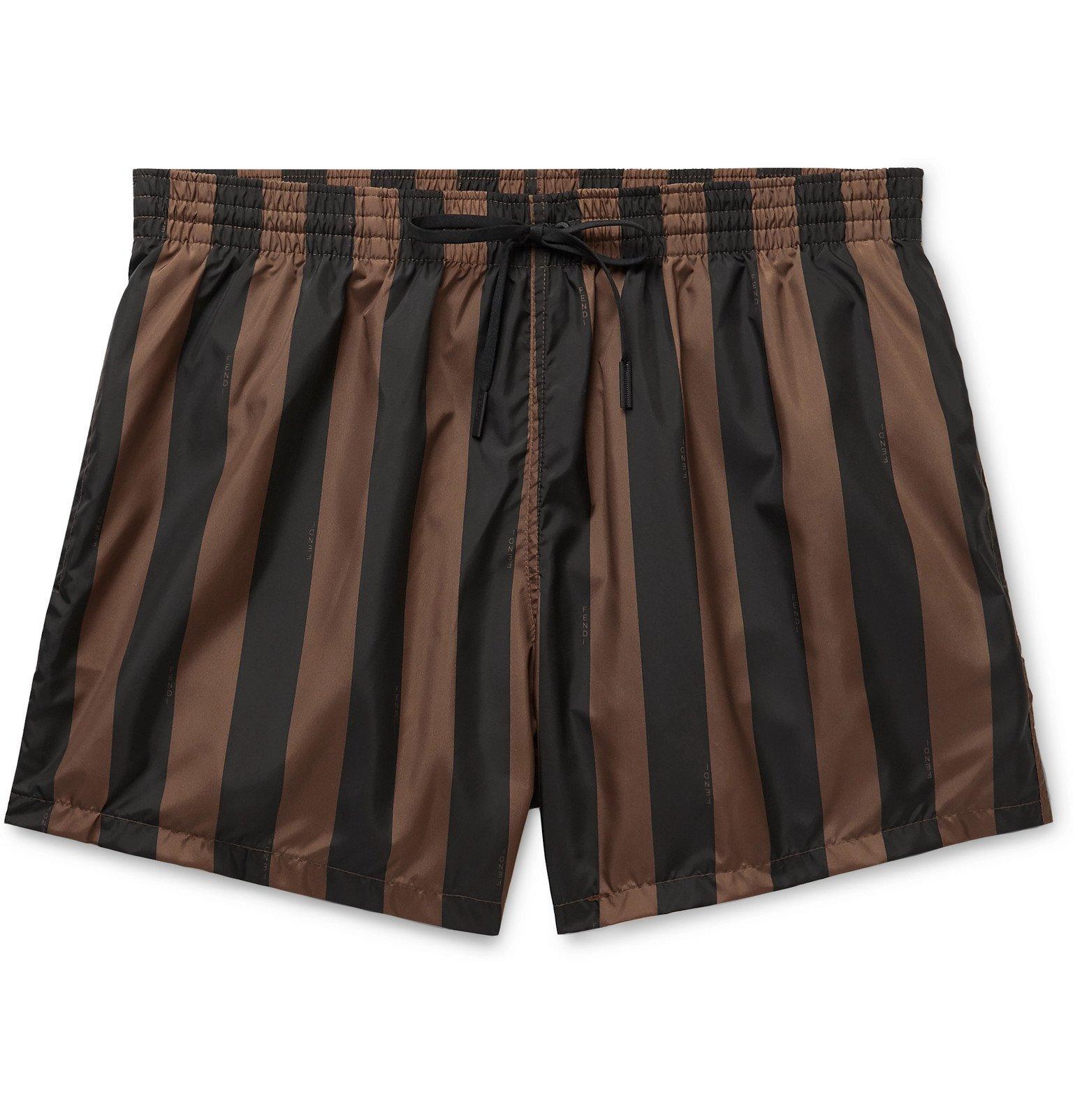 Photo: Fendi - Slim-Fit Mid-Length Logo-Print Striped Swim Shorts - Brown