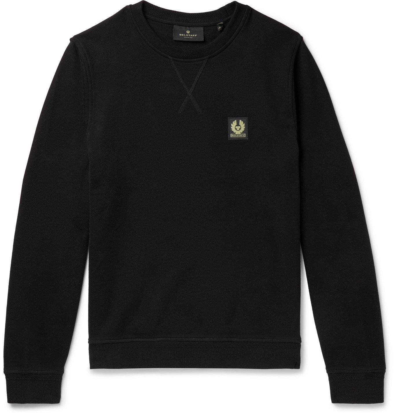 Photo: BELSTAFF - Logo-Appliquéd Fleece-Back Cotton-Jersey Sweatshirt - Black