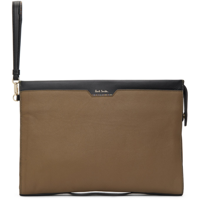 Photo: Paul Smith Taupe Leather Signature Stripe Document Pouch