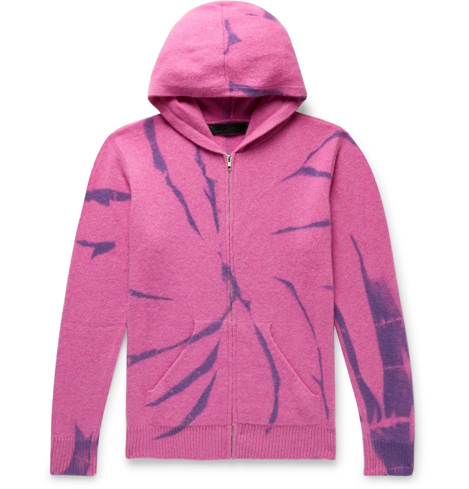 The Elder Statesman - Tie-Dyed Cashmere Zip-Up Hoodie - Pink