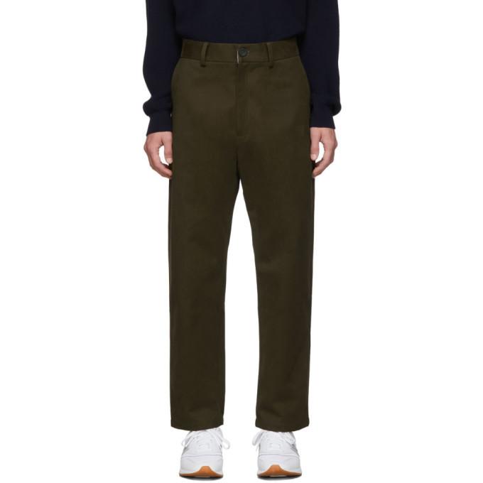 Photo: Studio Nicholson Khaki Tapered Flat Front Trousers