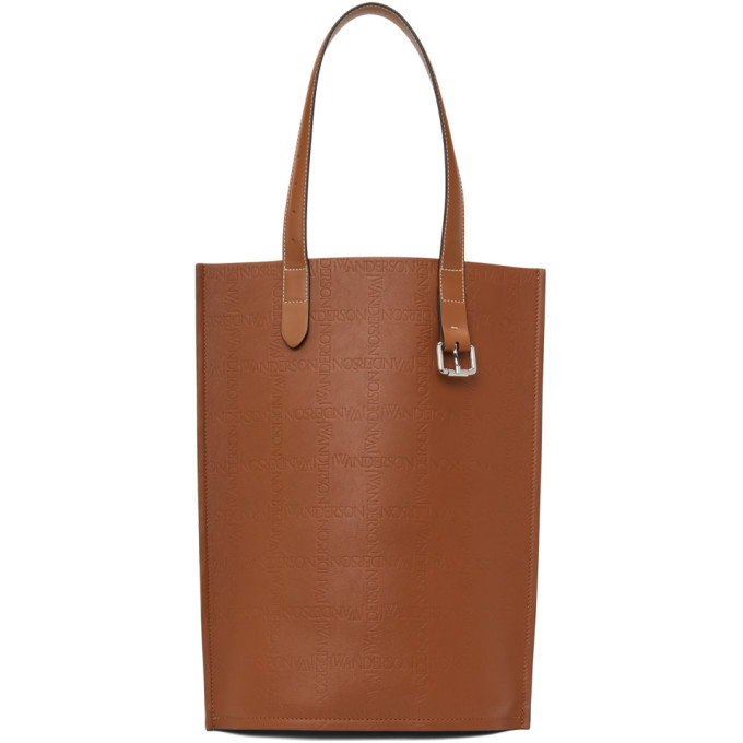 Photo: JW Anderson Tan and Black Embossed Logo Grid Belt Tote