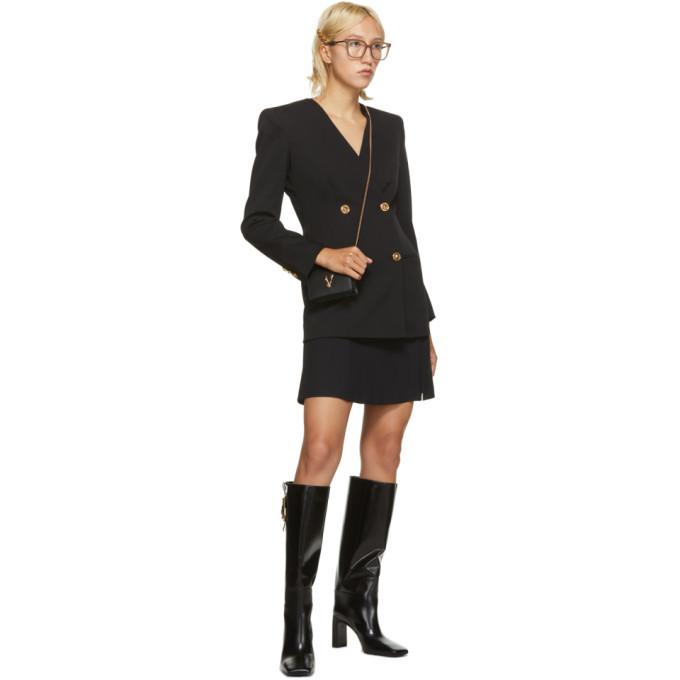 Versace Black Crepe Pin Flare Skirt