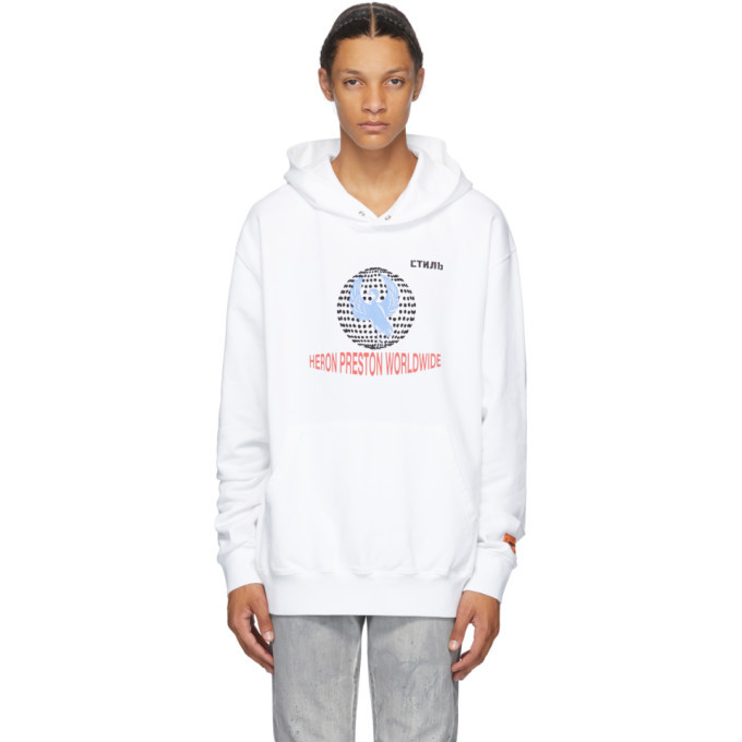 Photo: Heron Preston White Worldwide Classic Hoodie