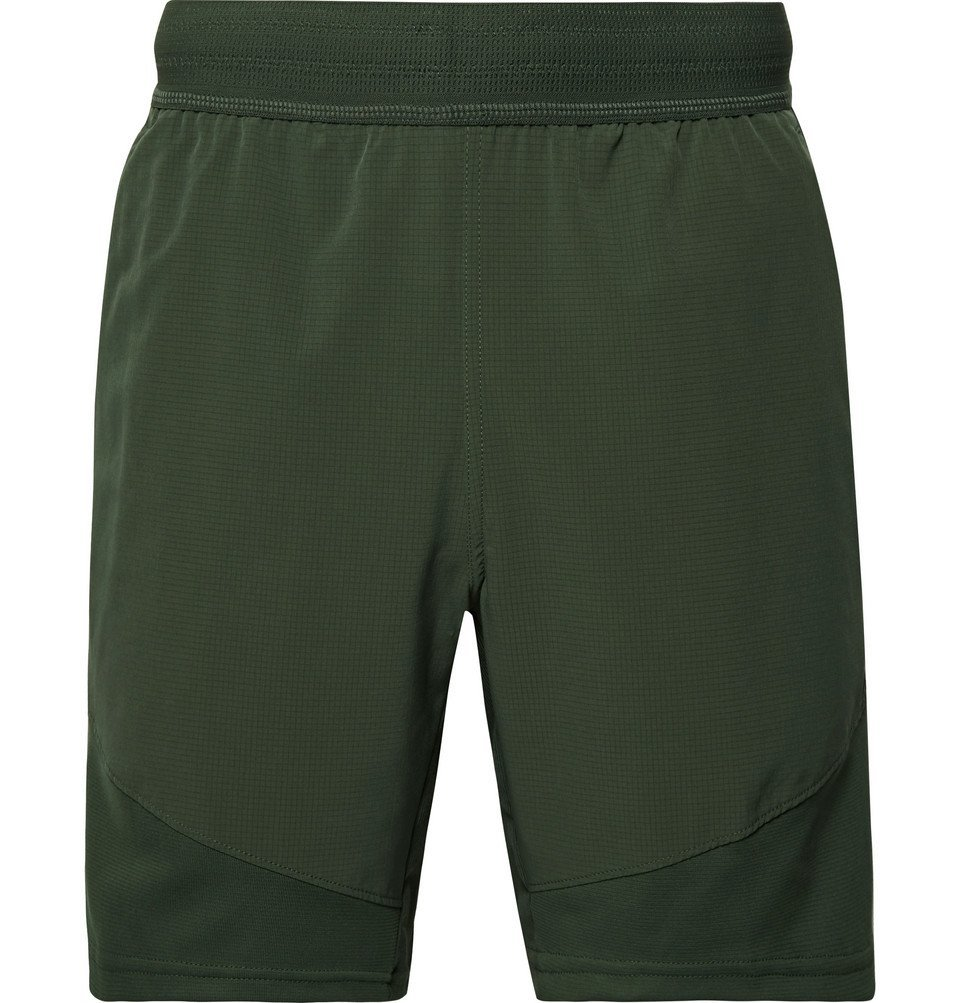 Photo: Nike Training - Flex Tech Pack Ripstop-Panelled Stretch-Jersey Shorts - Dark green