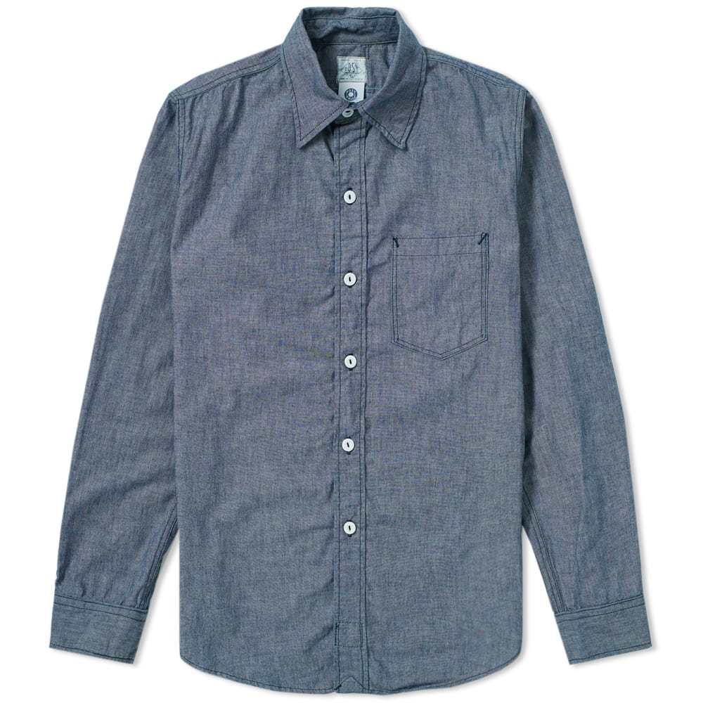 Photo: Post Overalls Post 3 Chambray Shirt Blue