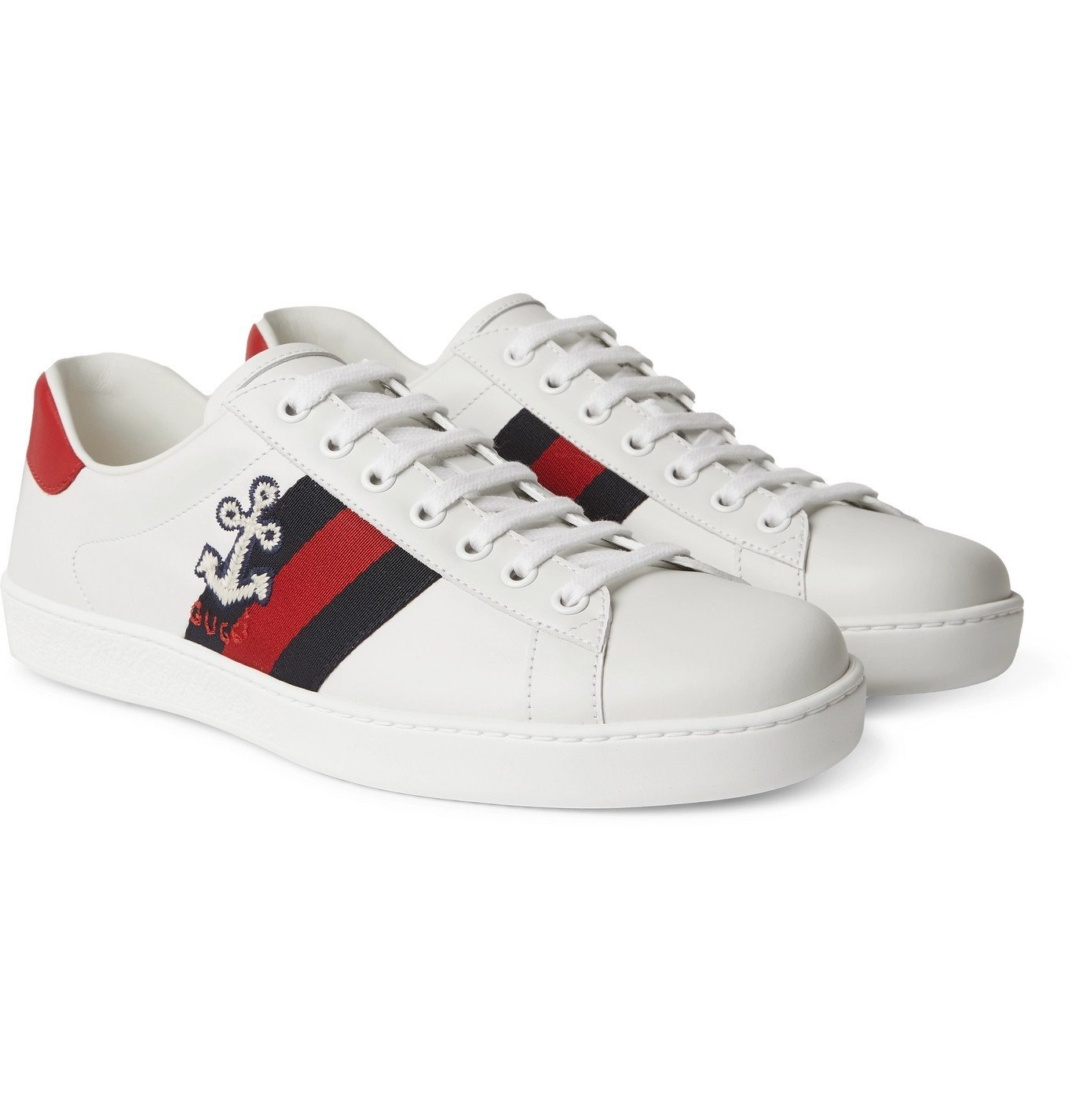 Photo: Gucci - Ace Webbing-Trimmed Embroidered Leather Sneakers - White