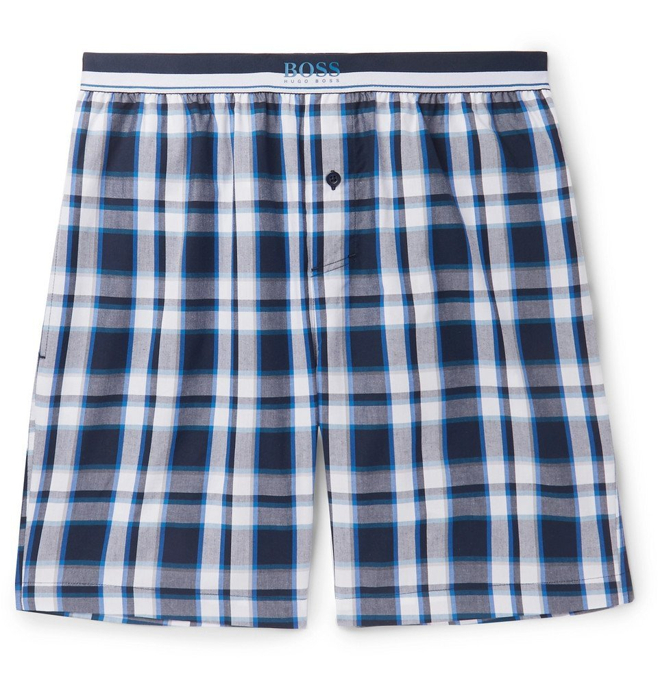 Photo: Hugo Boss - Checked Cotton Pyjama Shorts - Navy