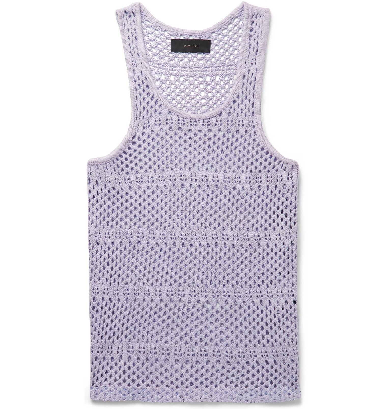Photo: AMIRI - Crocheted Cotton and Cashmere-Blend Tank Top - Purple
