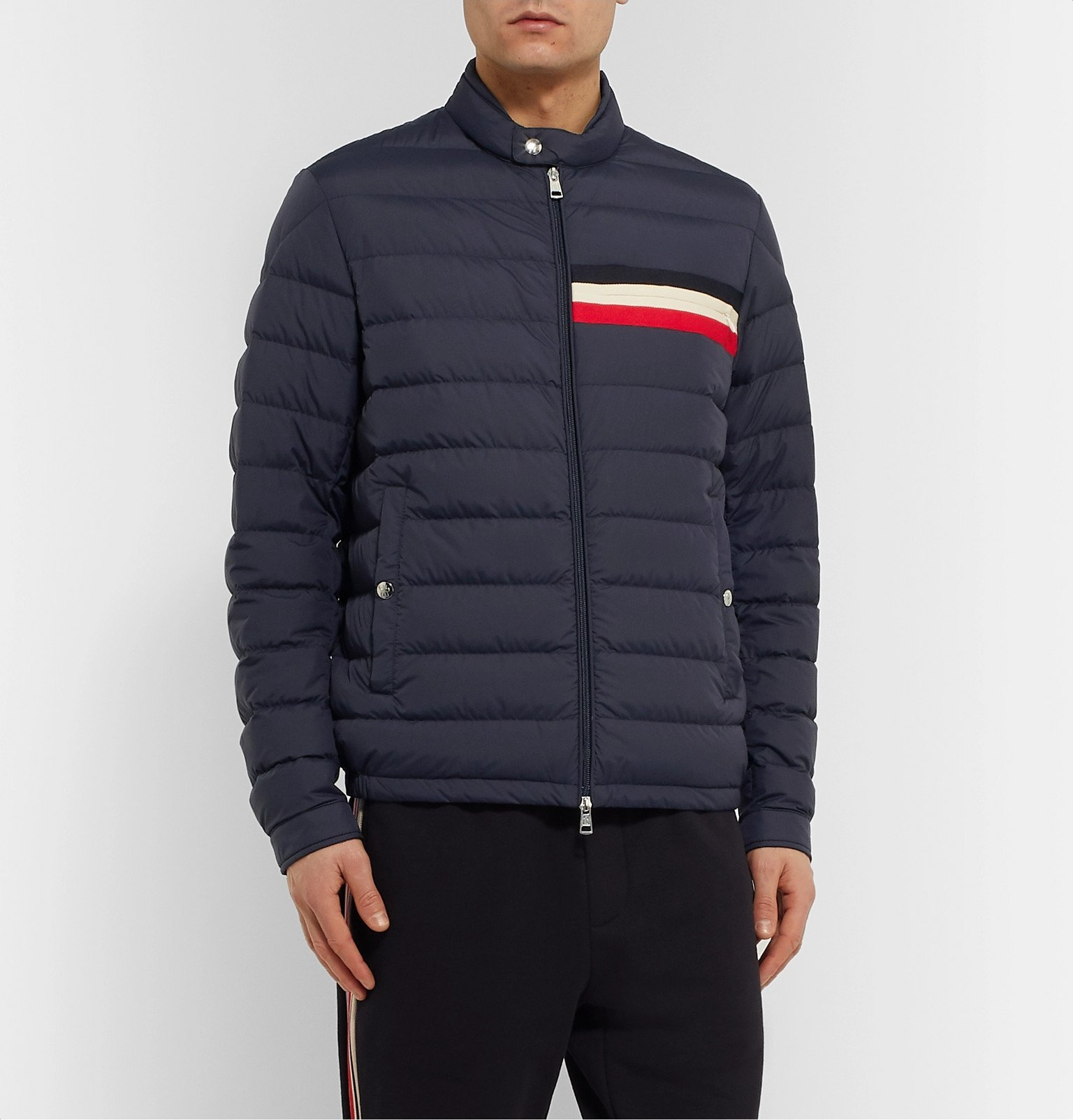 Moncler - Striped Quilted Shell Down Jacket - Blue