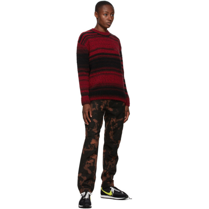 032c Black and Red Striped Logo Sweater