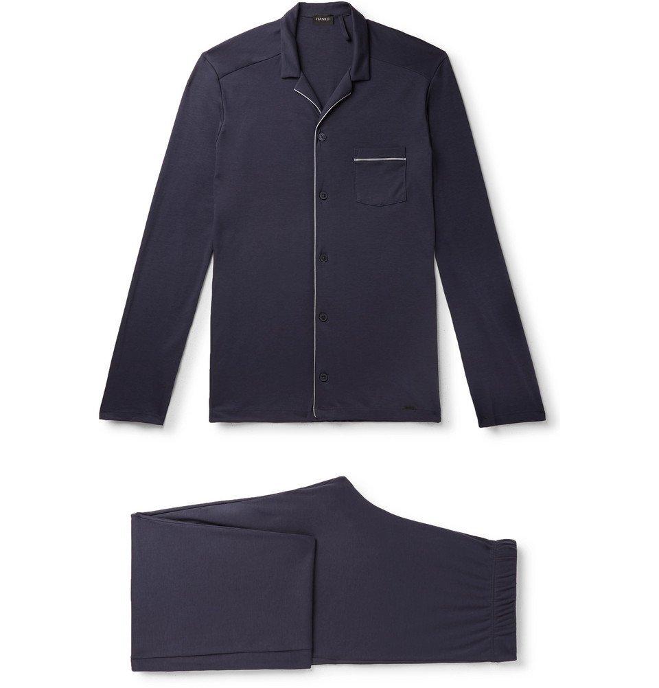 Hanro - Piped Cotton-Jersey Pyjama Set - Navy