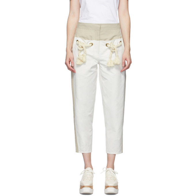 Stella McCartney Off-White and White Cropped Amanda Trousers