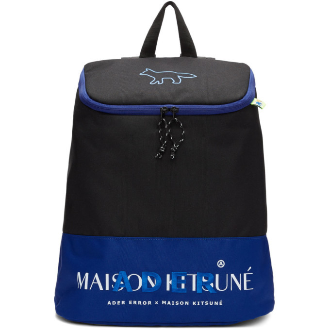 Photo: Maison Kitsune Black ADER Error Edition Layout Backpack
