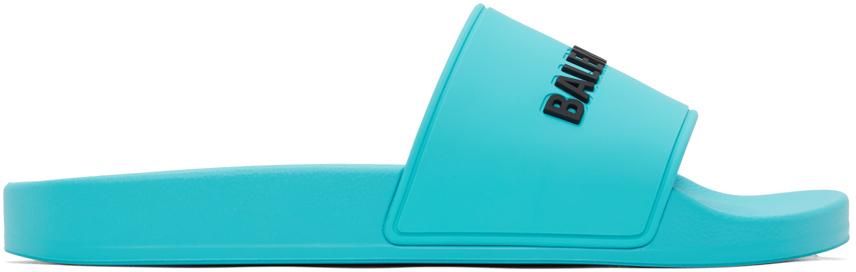 Photo: Balenciaga Blue Logo Pool Slides