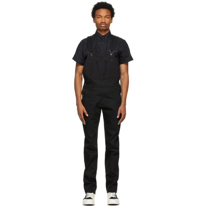 Photo: Naked and Famous Denim SSENSE Exclusive Black Selvedge Weird Guy Overalls