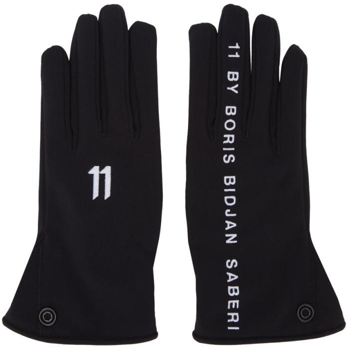 Photo: 11 by Boris Bidjan Saberi Black Logo Gloves