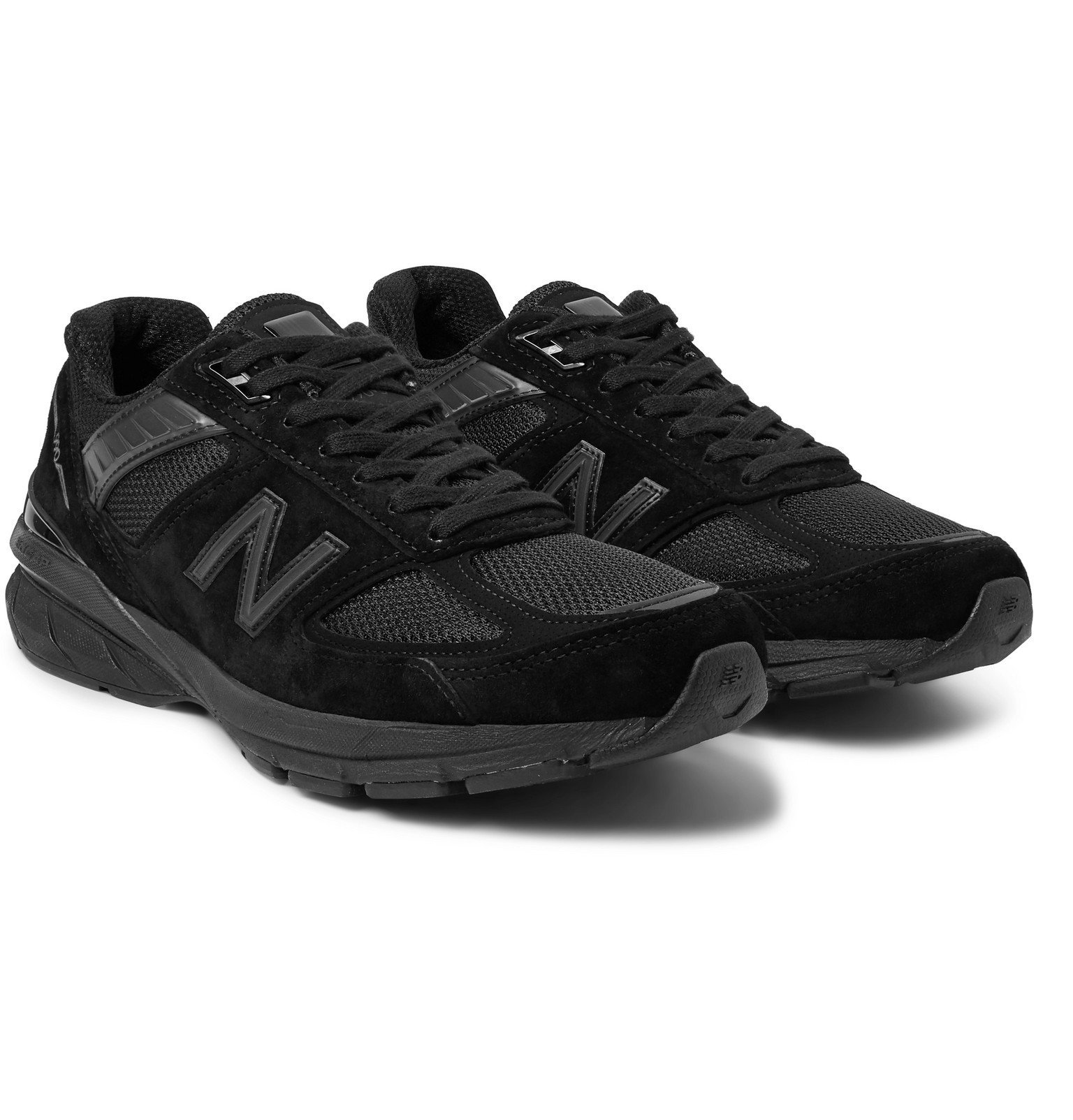 Photo: New Balance - M990v5 Rubber-Trimmed Suede and Mesh Running Sneakers - Black