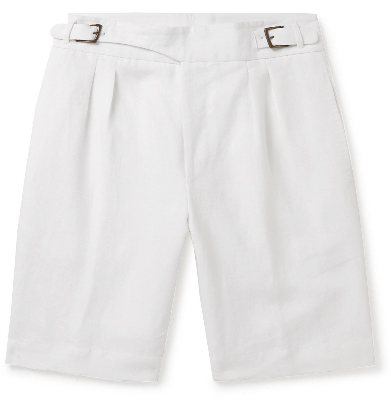 Photo: Anderson & Sheppard - Pleated Linen Shorts - White