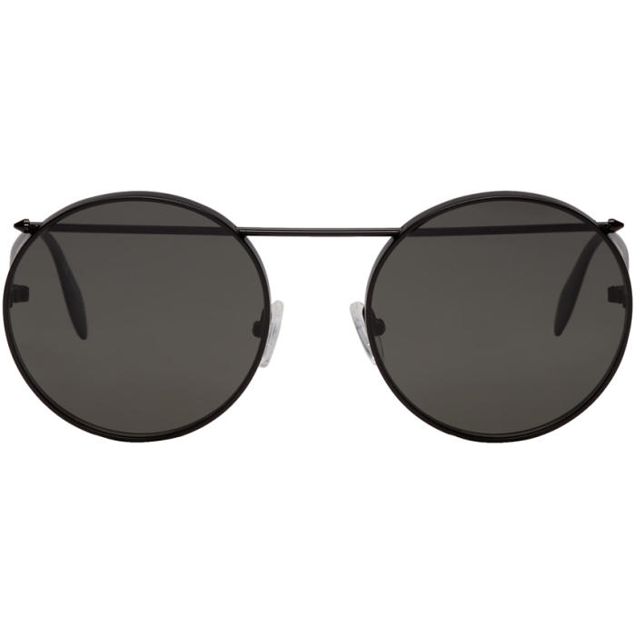 Photo: Alexander McQueen Black Round Sunglasses