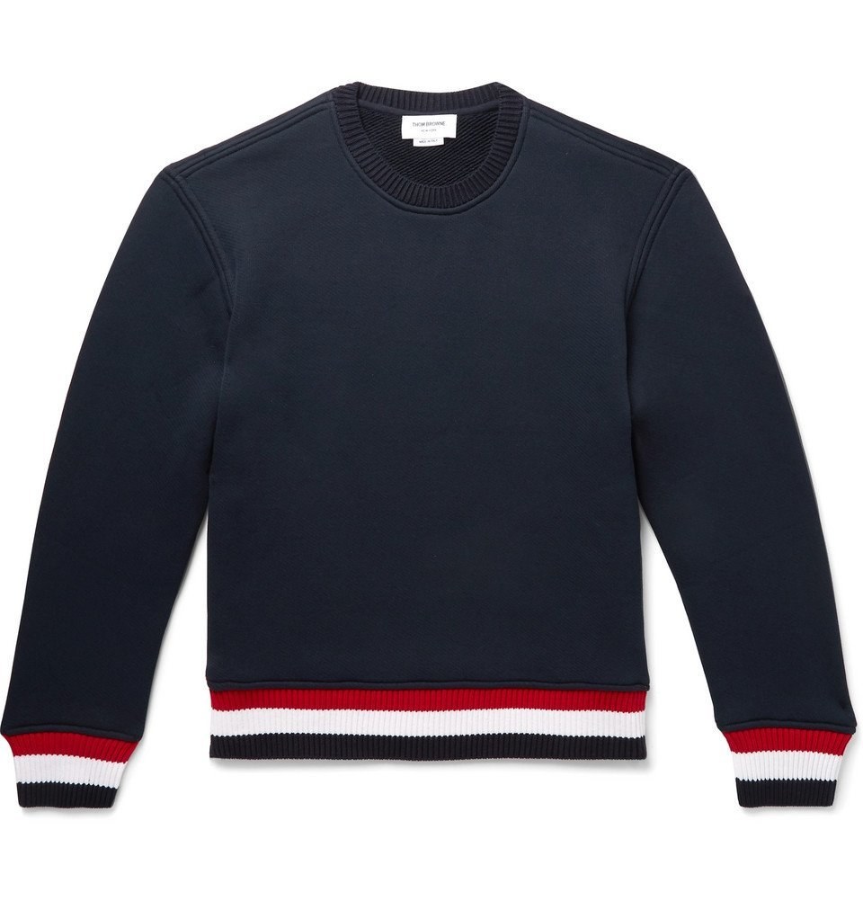 Photo: Thom Browne - Loopback Cotton-Blend Jersey Sweatshirt - Navy