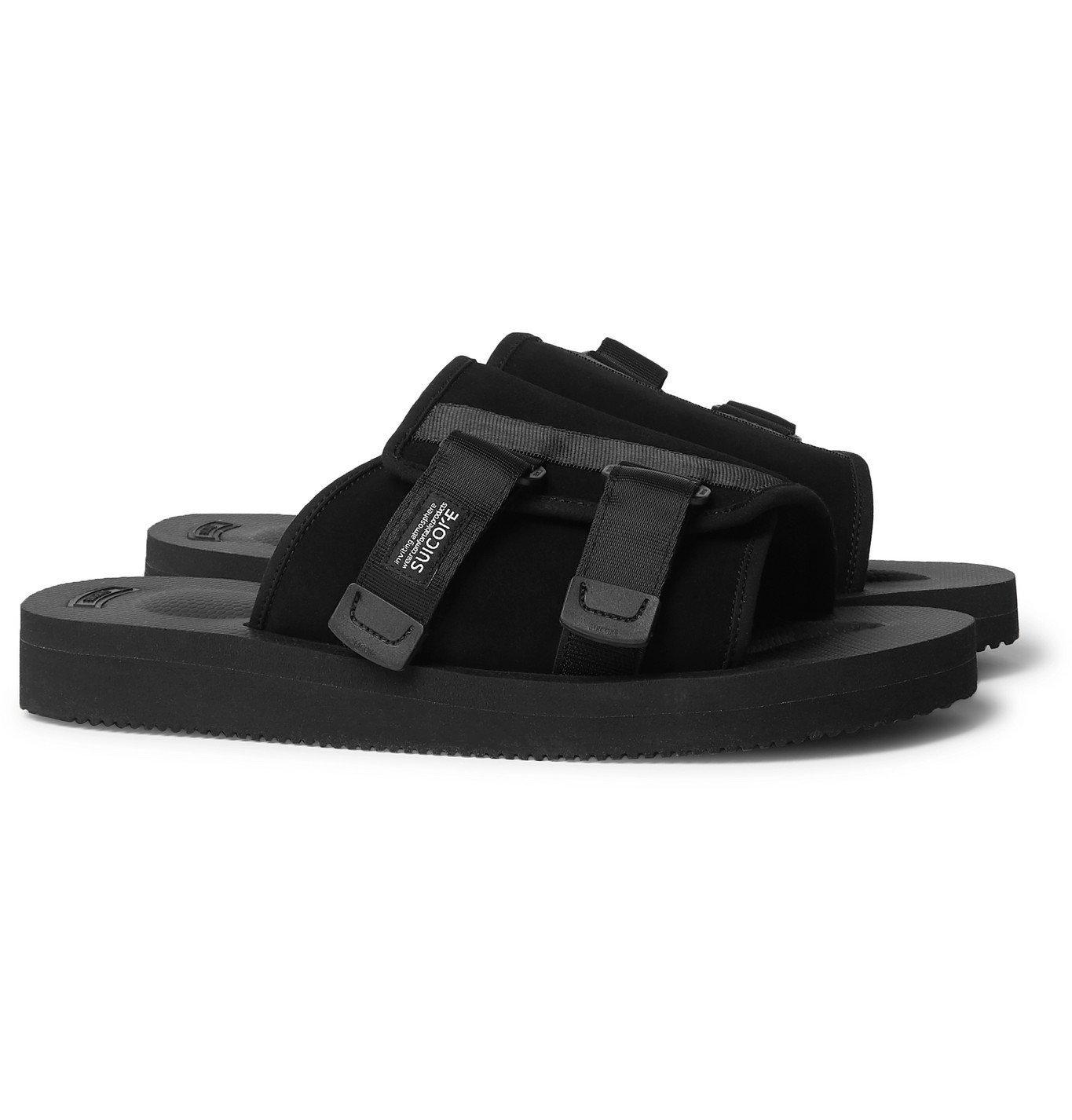 Photo: Suicoke - KAW-VS Webbing-Trimmed Suede Sandals - Black