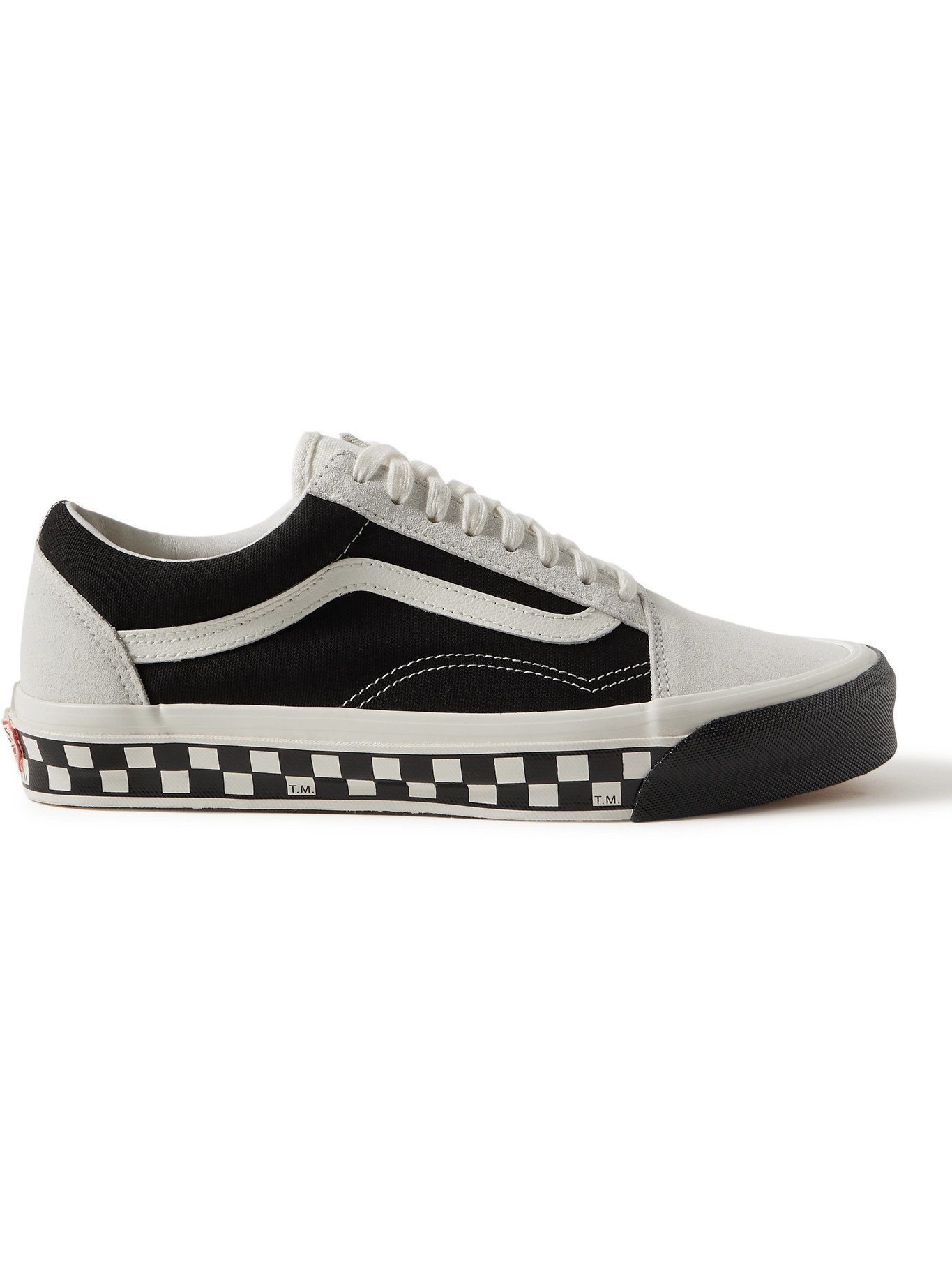 Photo: Vans - UA OG Old Skool LX Bumper Cars Leather-Trimmed Canvas and Suede Sneakers - White - UK 5