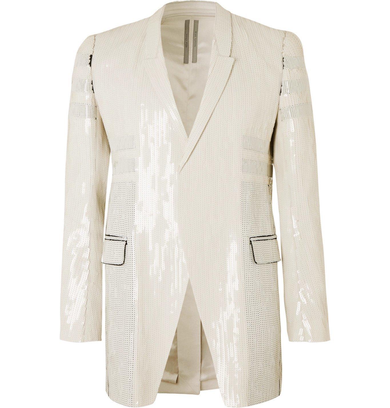 Photo: Rick Owens - Tatlin Sequinned Cotton Blazer - White