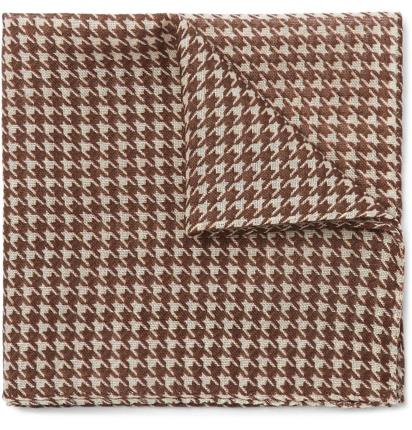 Photo: Anderson & Sheppard - Houndstooth Wool and Silk-Blend Pocket Square - Burgundy