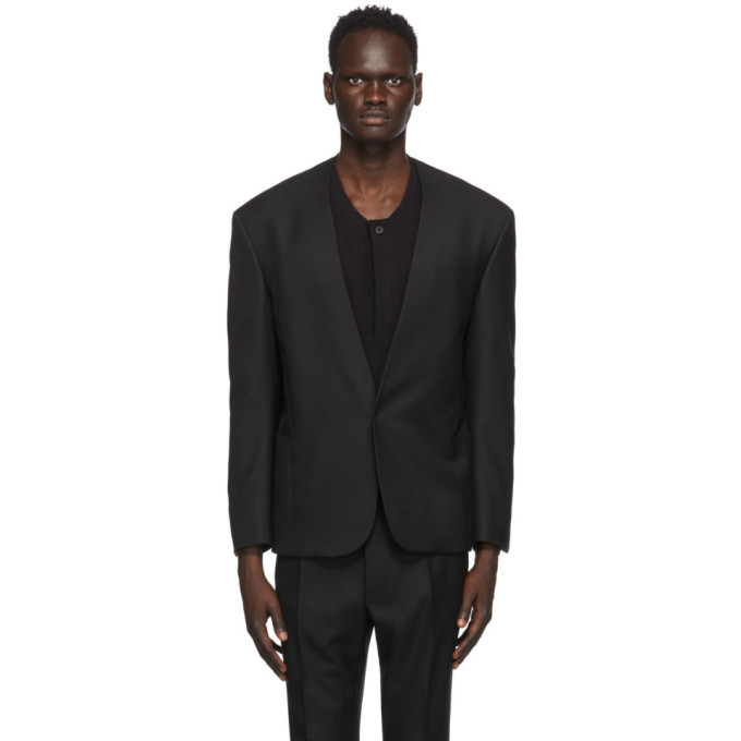 Photo: Fear of God Ermenegildo Zegna Black Wool Twill Single-Breasted Blazer