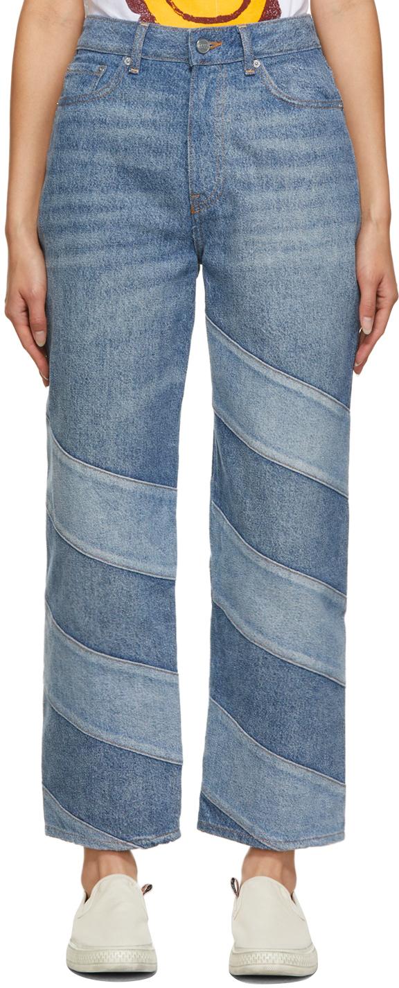 Photo: GANNI Blue Cutline Core Misy Denim Jeans