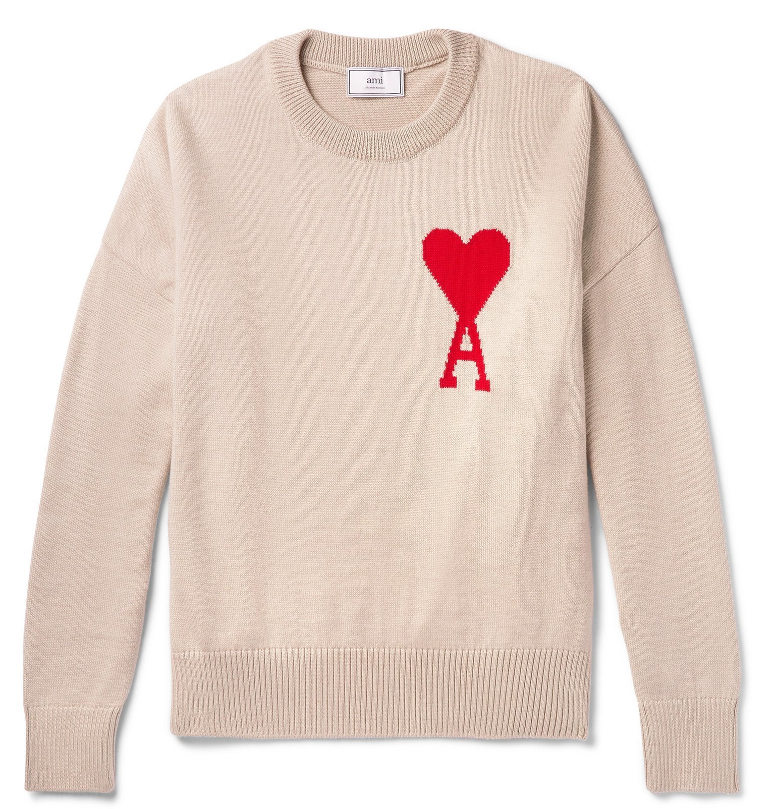 Photo: AMI - Logo-Intarsia Merino Wool Sweater - Neutrals