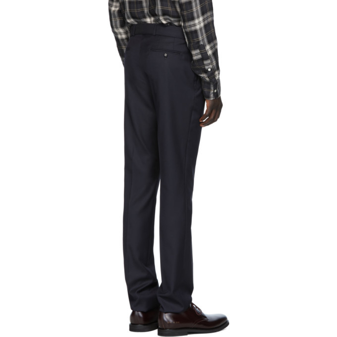 Officine Generale Navy Wool Pinpoint Paul Trousers