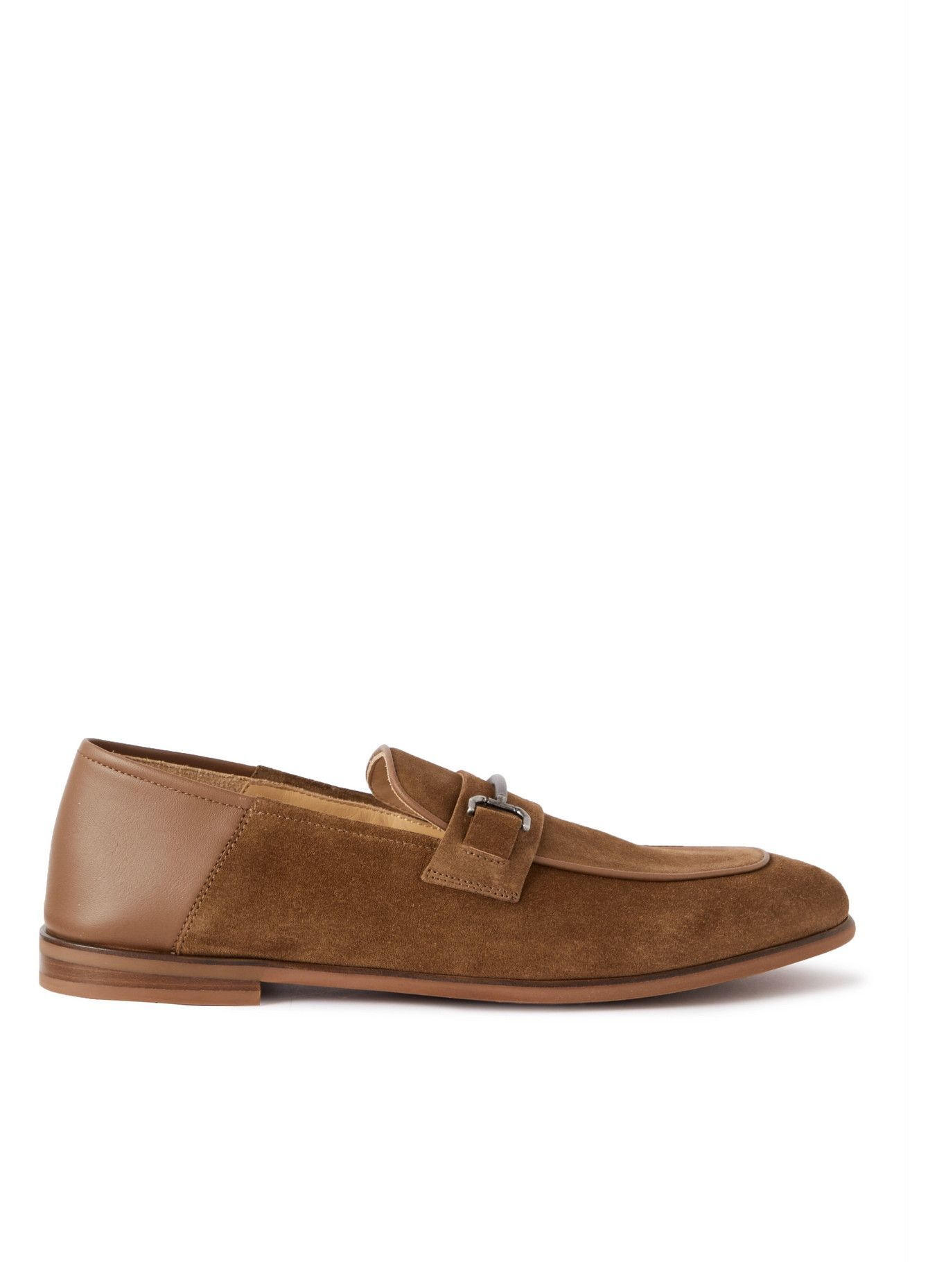 DUNHILL - Chiltern Suede and Leather Loafers - Brown