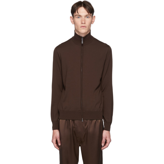 Photo: Brioni Brown Wool Blouson Sweater