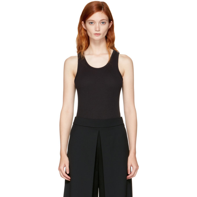 Photo: alexanderwang.t Black Sleeveless Ribbed Bodysuit