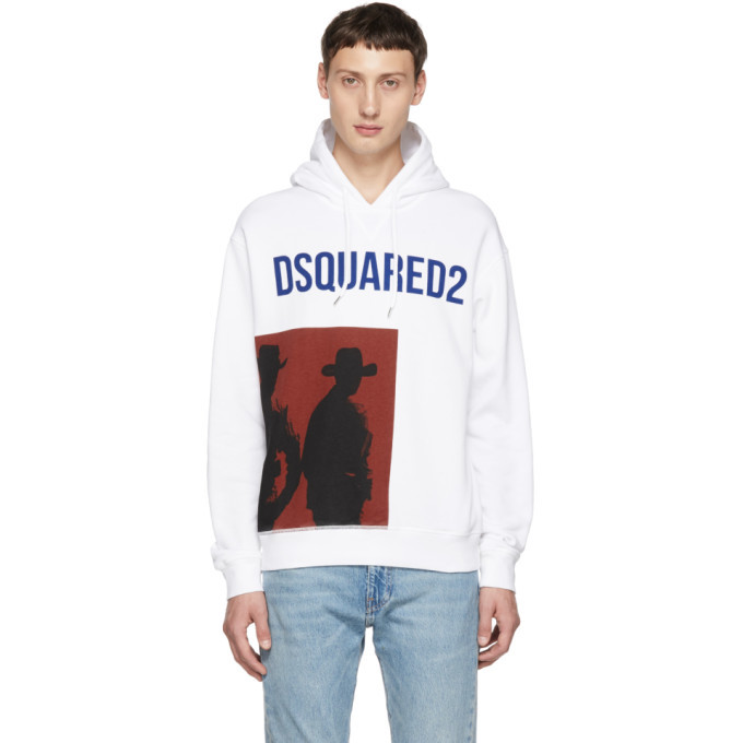 Photo: Dsquared2 White Logo Dean Fit Hoodie