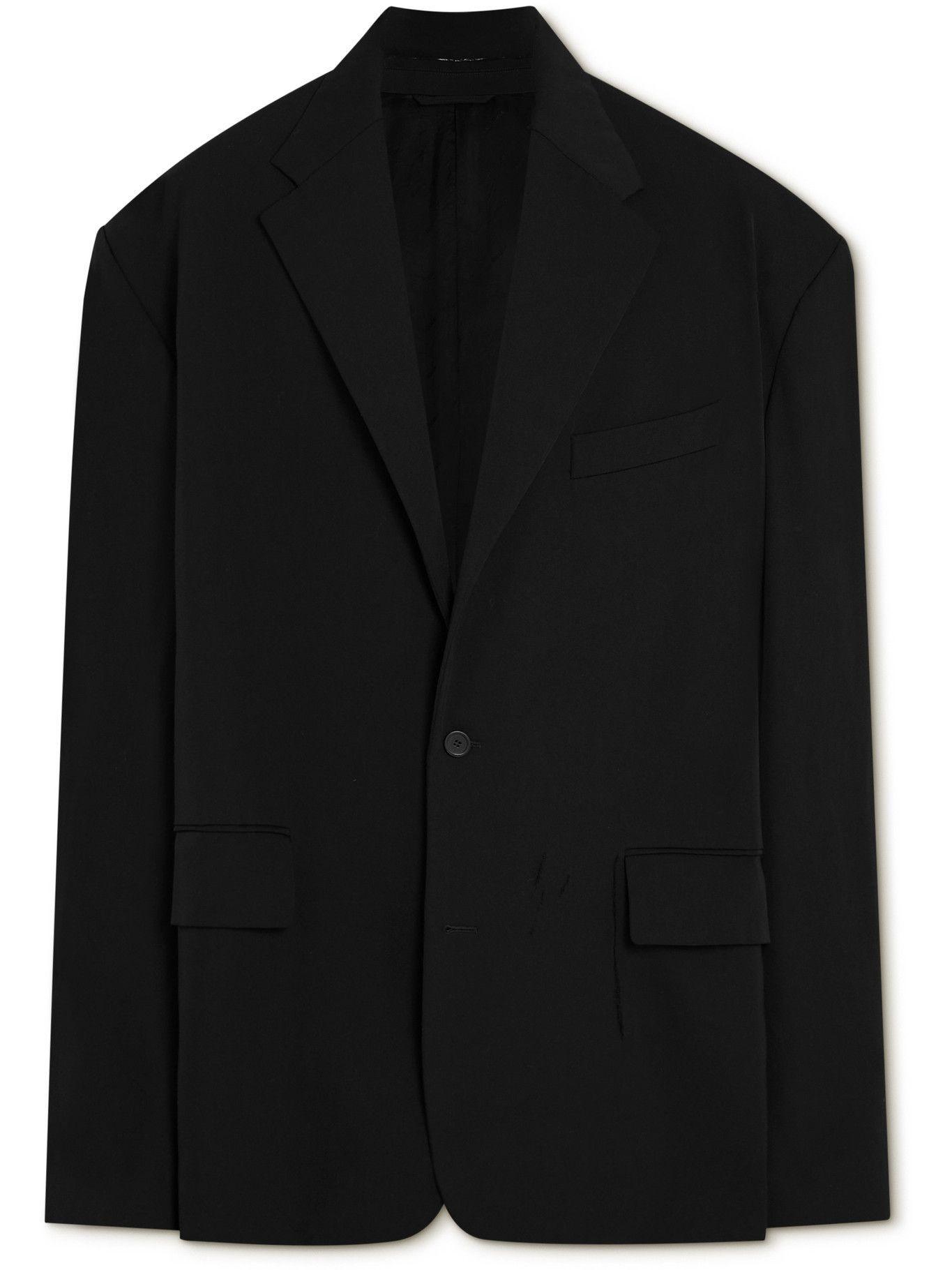 Photo: Balenciaga - Oversized Distressed Wool Blazer - Black