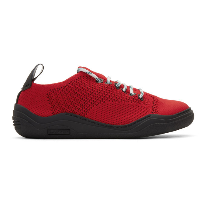 Photo: Lanvin Red Low-Top Knit Diving Sneakers