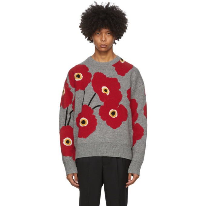 Photo: AMI Alexandre Mattiussi Grey and Red Jacquard Flowers Sweater