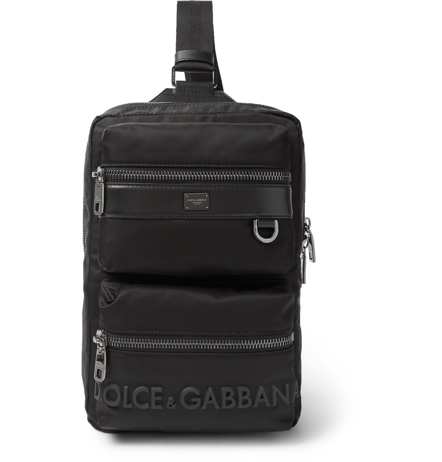 Photo: Dolce & Gabbana - Convertible Logo-Detailed Leather-Trimmed Nylon Bag - Black