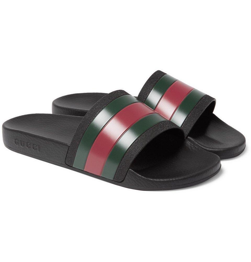 Photo: Gucci - Striped Rubber Slides - Black