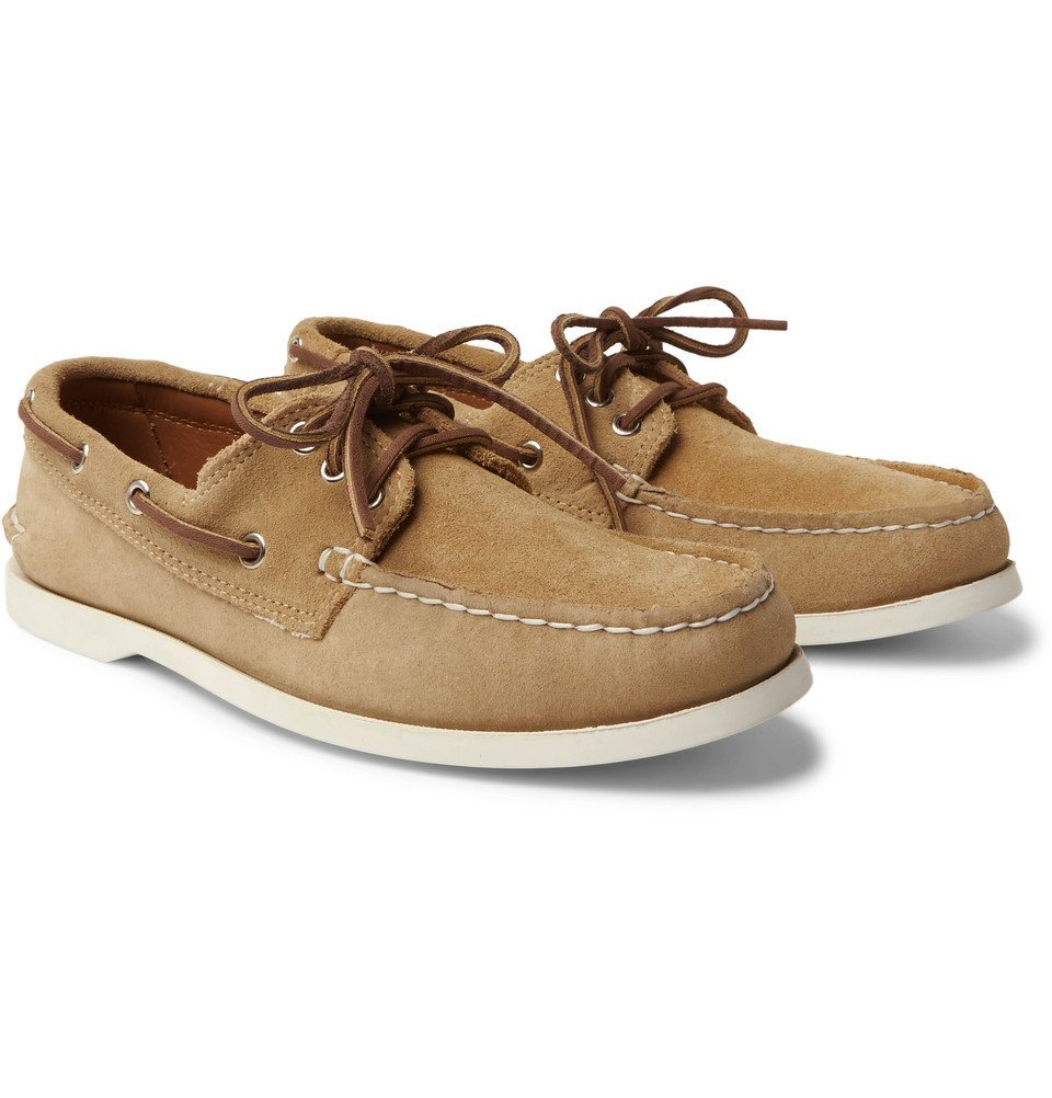 Photo: Quoddy - Downeast Suede Boat Shoes - Beige