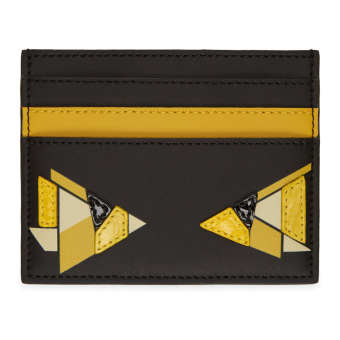 Photo: Fendi Black and Yellow Digital Bag Bugs Card Holder